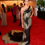 """Nina Dobrev Wearing a gown by Donna Karan Atelier and Jimmy Choo """"New Fiery"""" platform sandals"""